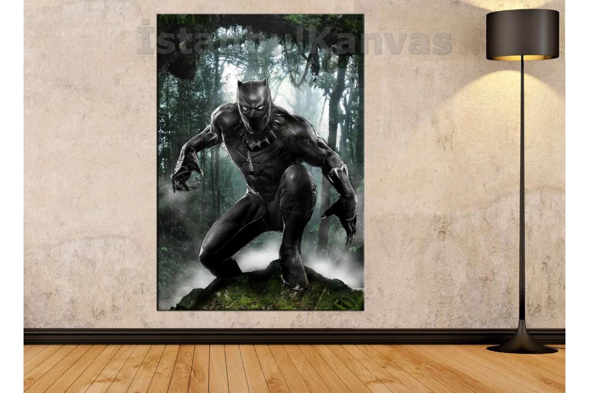 Srsh18 - Black Panther Tchalla,  Kara Panter Kanvas Tablo