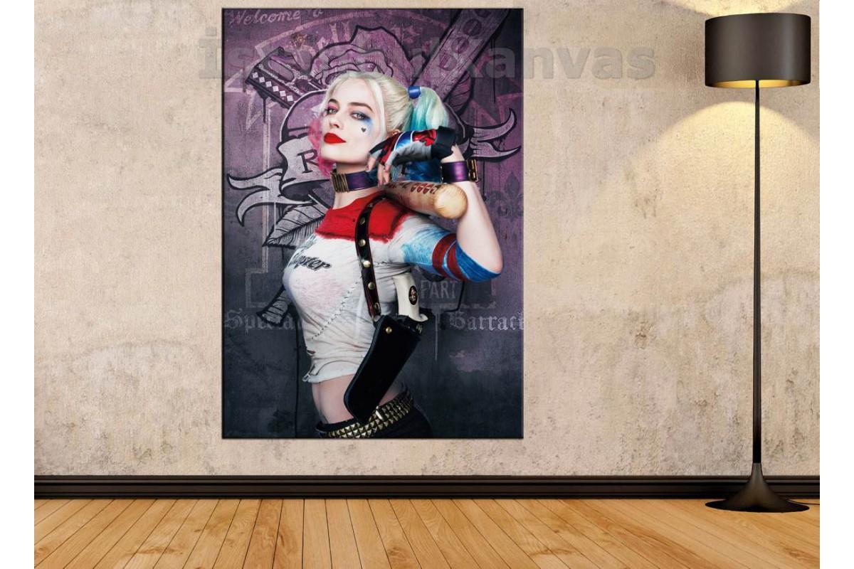 Srsh2 - Suicide Squad Harley Quinn Ve Beyzbol Sopası Kanvas Tablo
