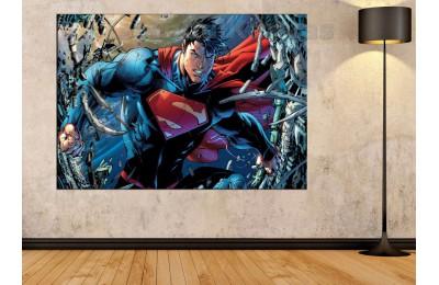 Srsh21 - Superman, Süper Kahraman, Çizgi Roman Görünümlü Kanvas Tablo
