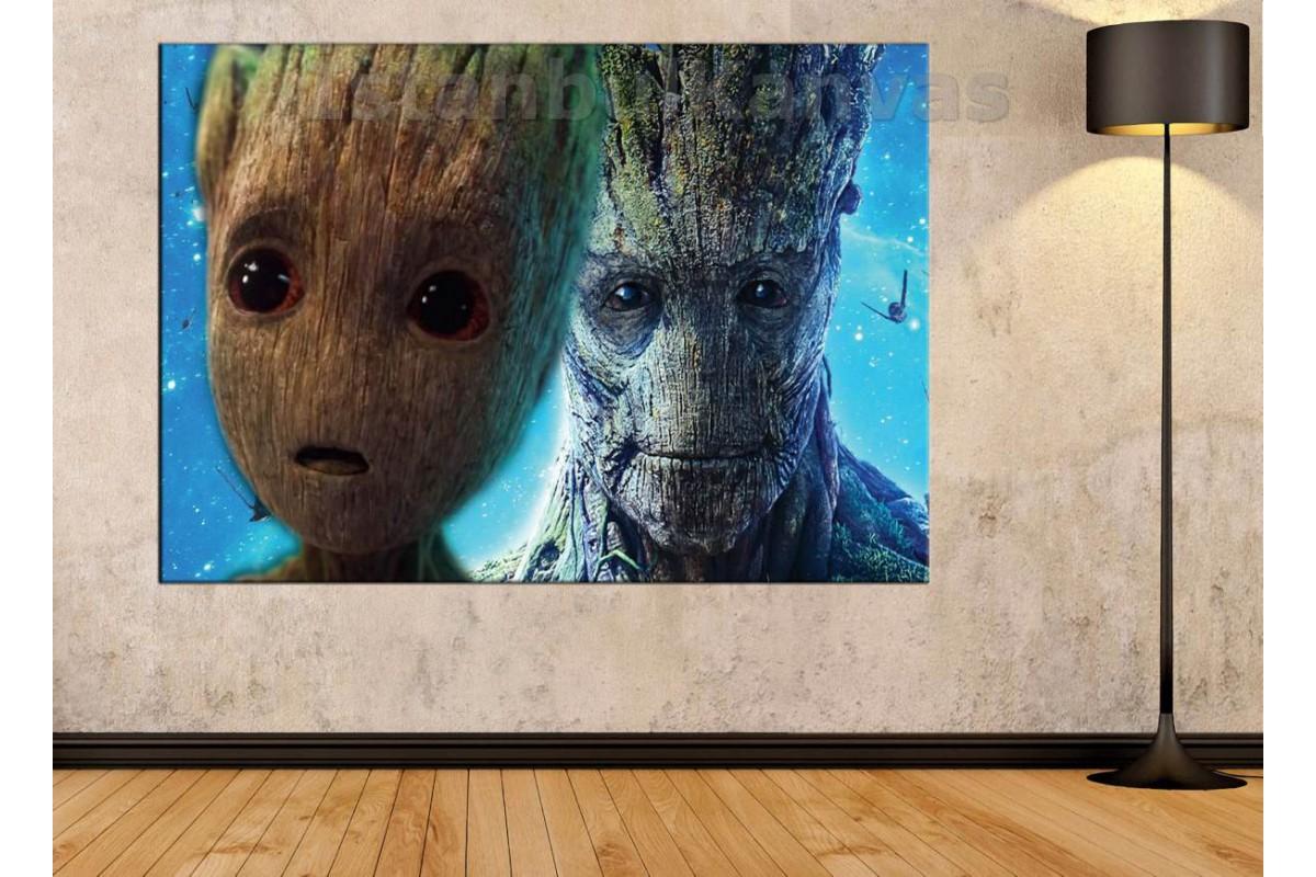 Srsh25 - Groot Ve Baby Groot - Bebek Groot - I Am Groot Kanvas Tablo