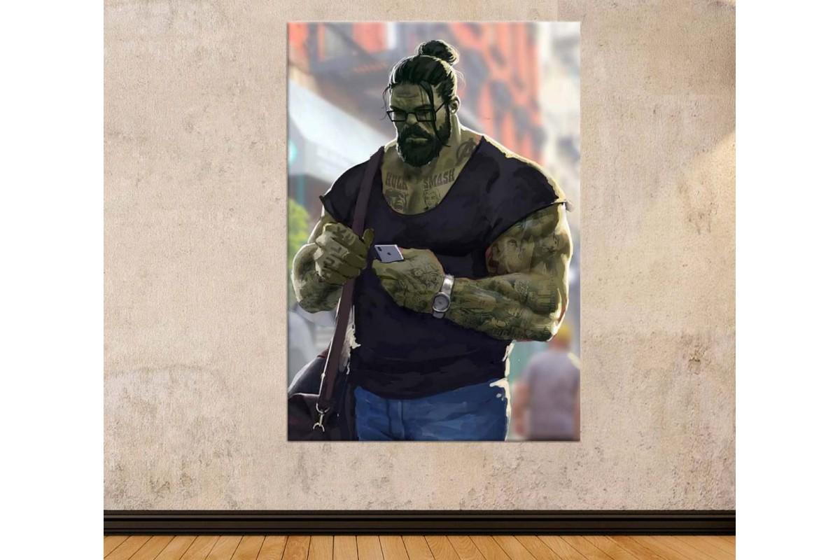 srsh40 - Profesör Hulk, Sakallı Hulk, Hipster Hulk Kanvas Tablo