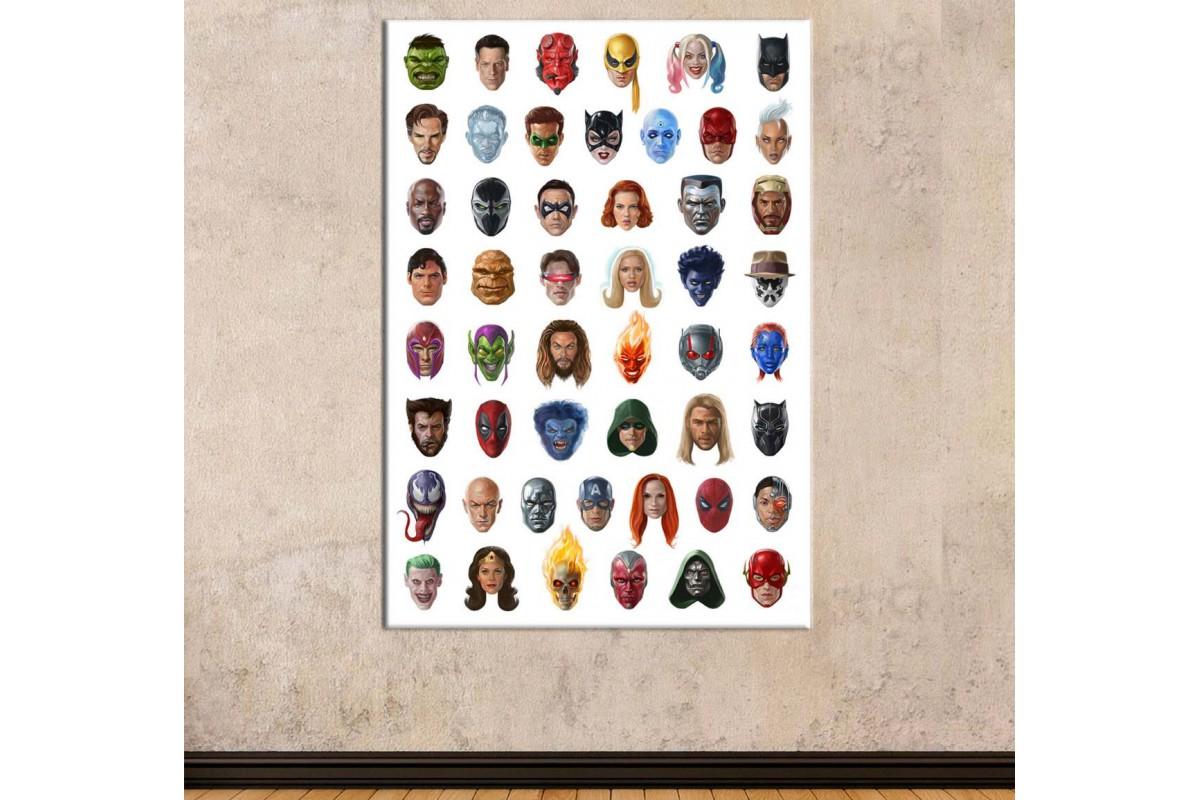 srsh41 - Süper Kahraman Suratları, Marvel ve DC Karakterleri Kanvas Tablo