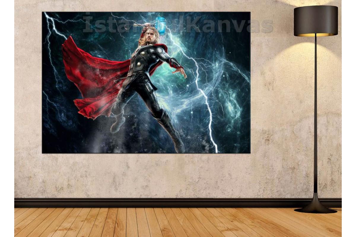 Srsh5 - Şimşek Tanrısı Thor Ve Çekici Mjollnir - Avengers Kanvas Tablo