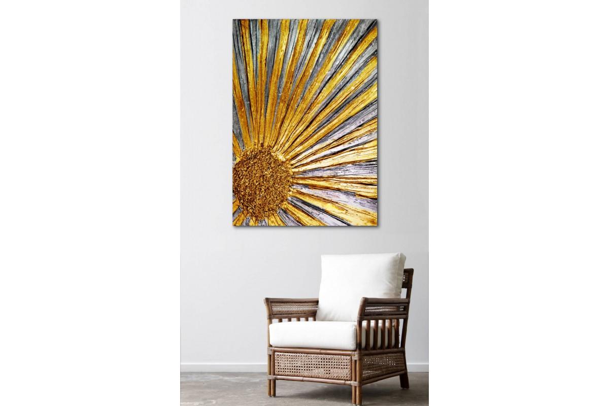srsn1 - Modern Sanat Altın Rengi Çiçek Dekoratif Kanvas Tablo