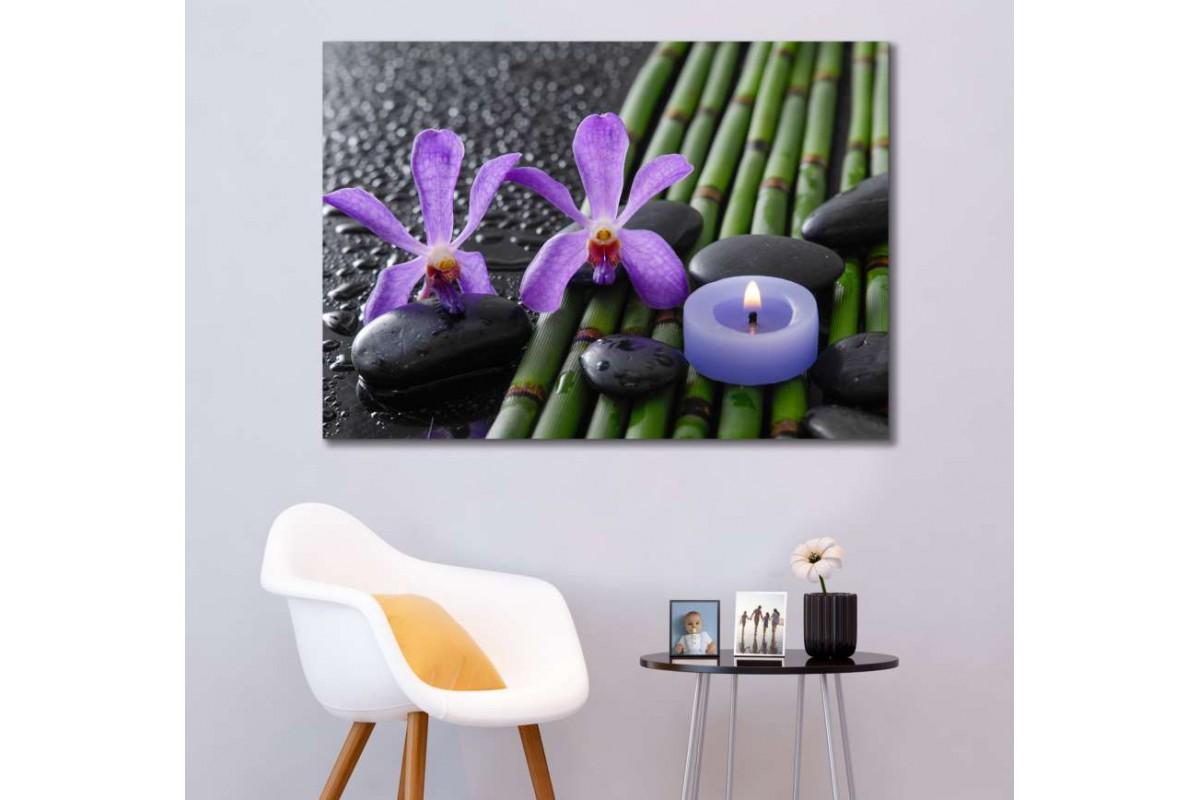 srsp2- Bambu - Mum - Spa - Masaj Salonu - Zen Taşları - Orkideler Dekoratif Kanvas Tablo
