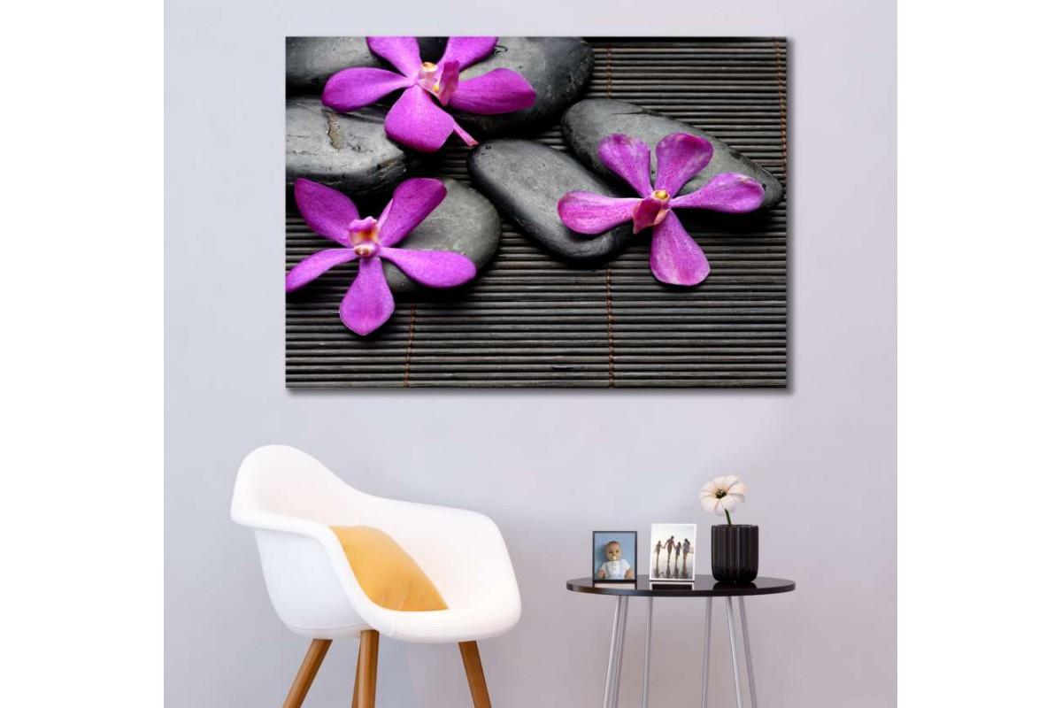 srsp3- Bambu - Spa - Masaj Salonu - Zen Taşları - Orkideler Dekoratif Kanvas Tablo
