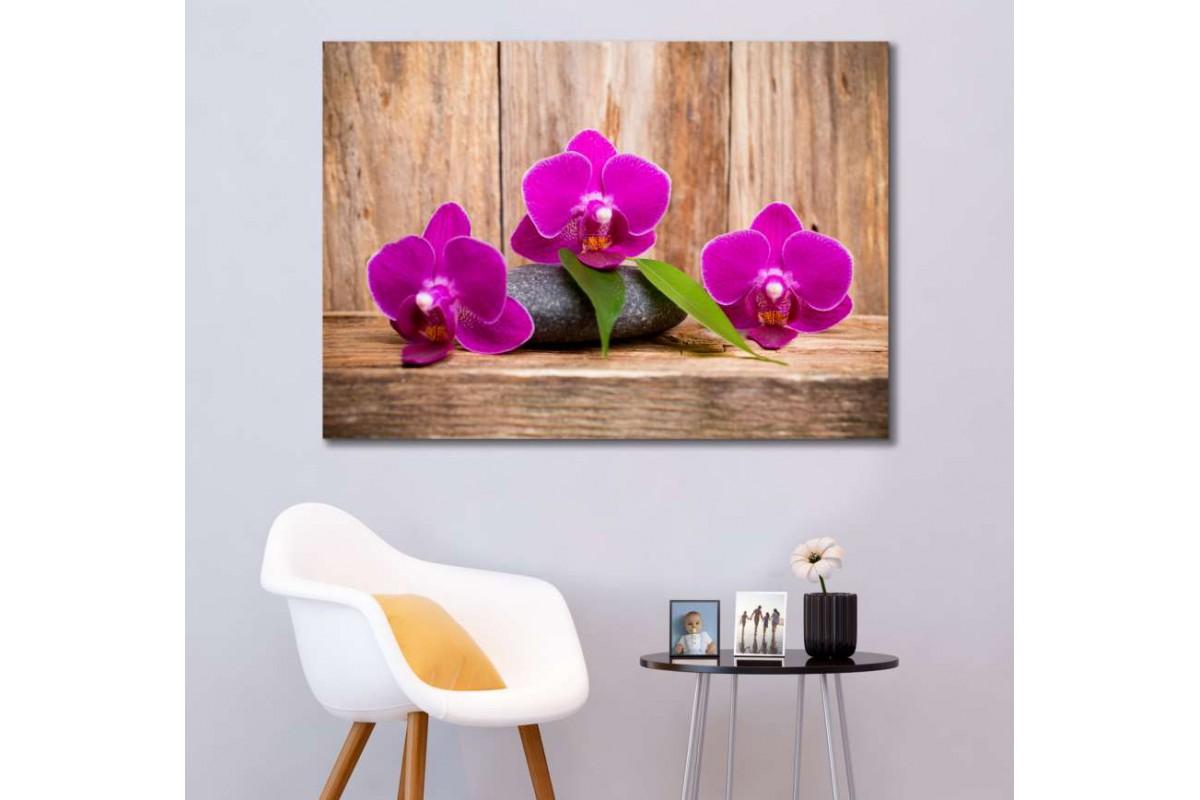 srsp4 - Ahşap Zemin - Spa - Masaj Salonu - Zen Taşları - Orkideler Dekoratif Kanvas Tablo