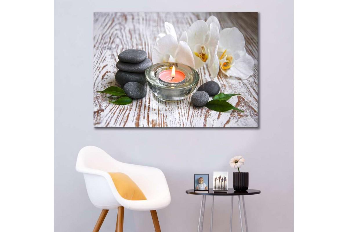 srsp5 - Ahşap Zemin, Spa Masaj Salonu, Zen Taşları, Mum, Orkide Dekoratif Kanvas Tablo