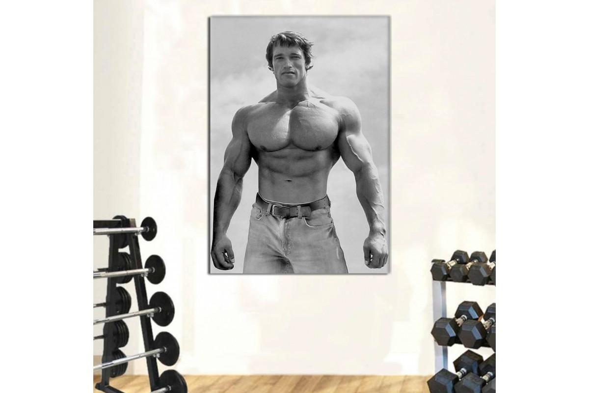 srss1 - Spor Salonu - Vücut Geliştirme - Body Building - Şampiyon Arnold Schwarzenegger Ayakta Poz Kanvas Tablo