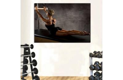 srss11 - Pilates Stüdyosu Dekorasyonu, Grup Pilates, Aletli Pilates Yapan Kadın Kanvas Tablo