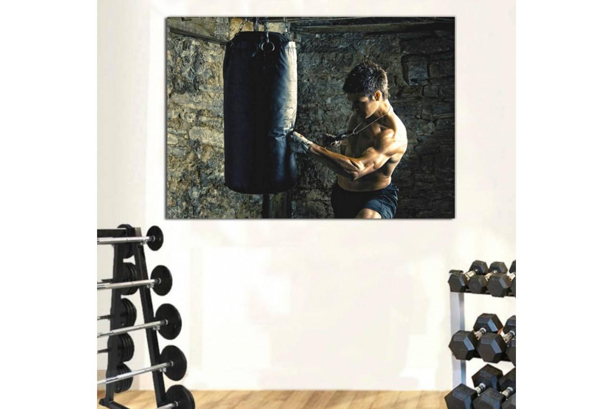 srss13 - Kum Torbasıyla Çalışan Kick Box Sporcusu Kanvas Tablo