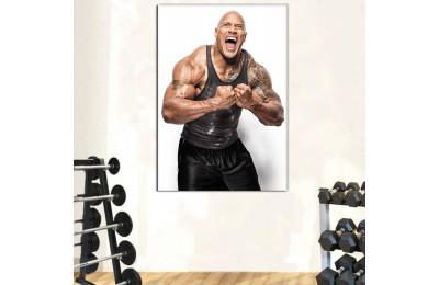 srss14 - Vücut Geliştirme Salonu, Bodybuilding, The Rock Dwayne Johnson Kanvas Tablo