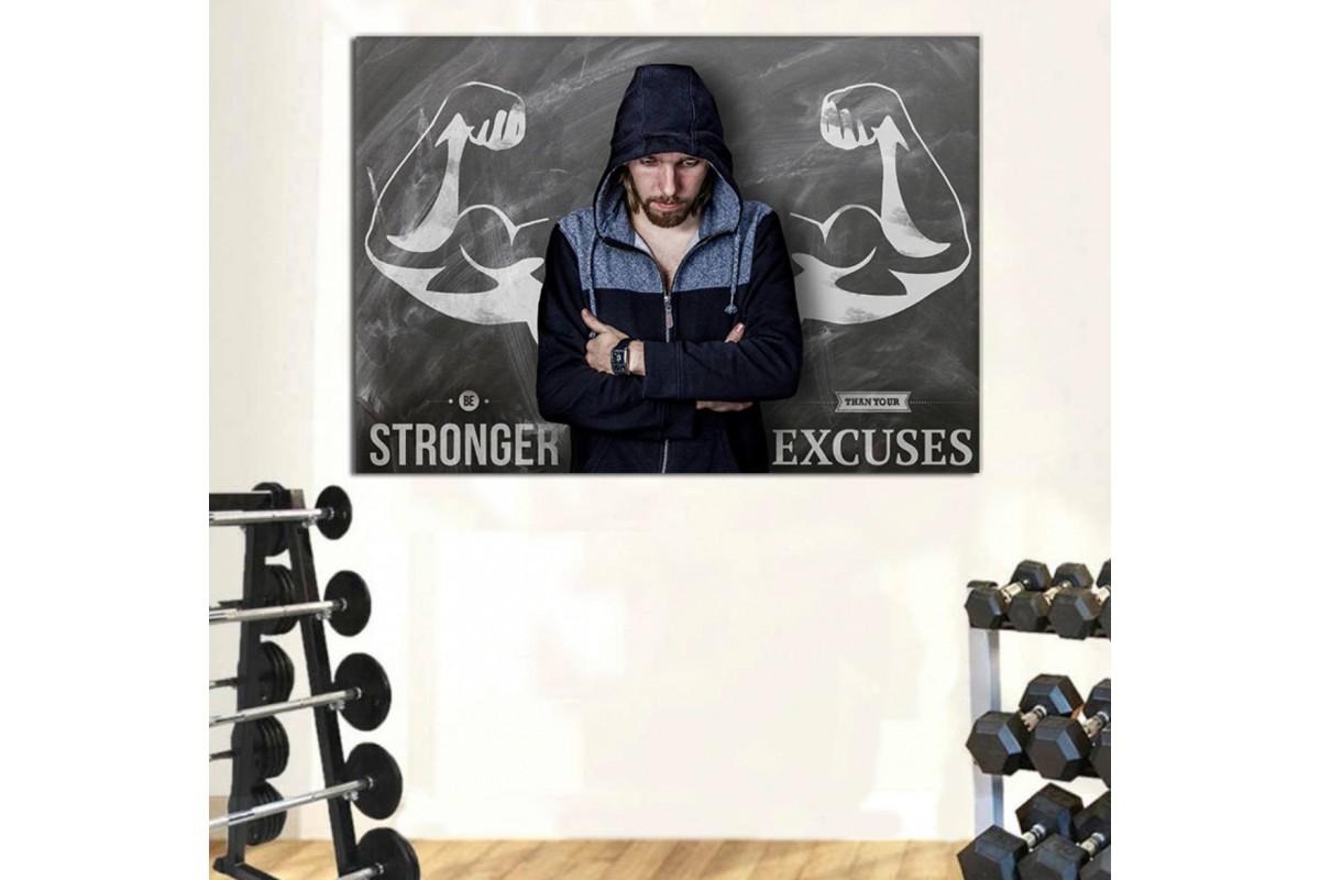 srss19 - Be Stronger Than Your Excuses - Vücut Geliştirme Motive Edici Sözler Kanvas Tablo
