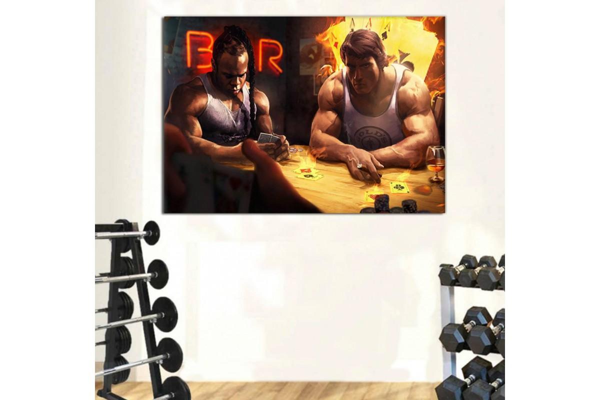 srss20 - Arnold Schwarzenegger ve Kai Greene Yağlı Boya Görünümlü Spor Salonu Kanvas Tablo