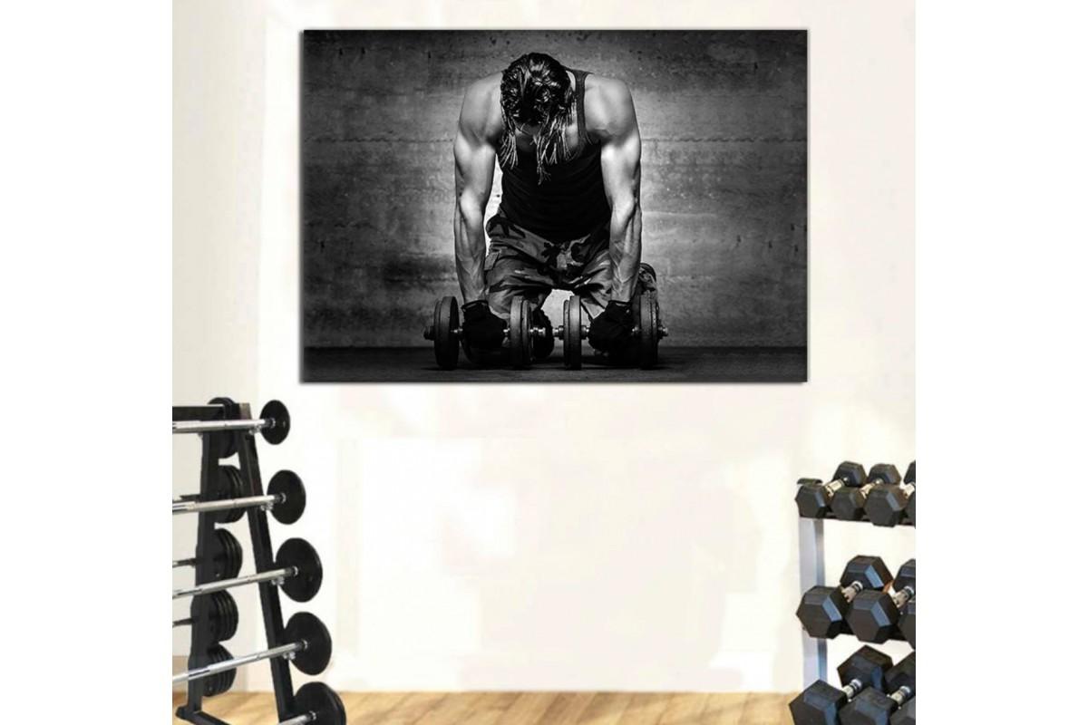 srss21 - Asla Pes Etme, Vücut Geliştirme, Spor Salonu Dumbell Sporcu Kanvas Tablo