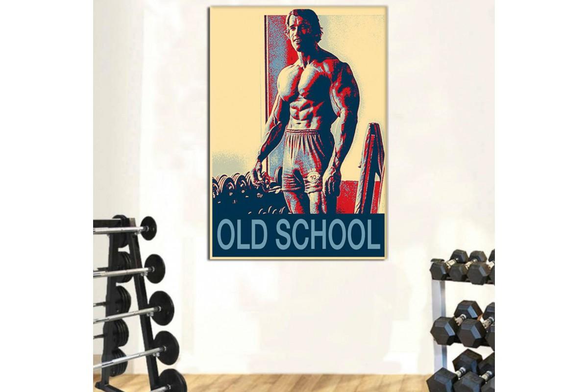 srss25 - Arnold Schwarzenegger Old School Poster Tarzı Özel Tasarım Kanvas Tablo