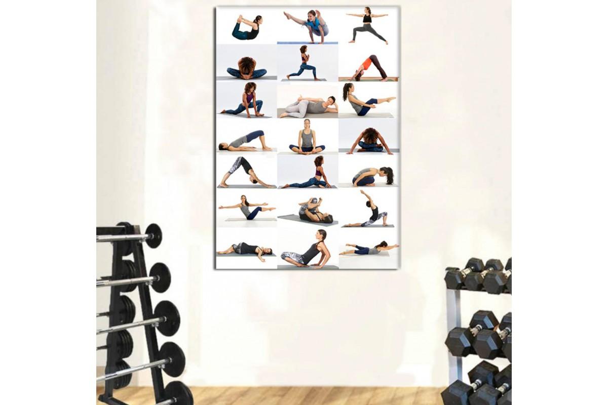 srss31 - Temel Yoga Hareketleri Temalı Özel Tasarım Kanvas Tablo