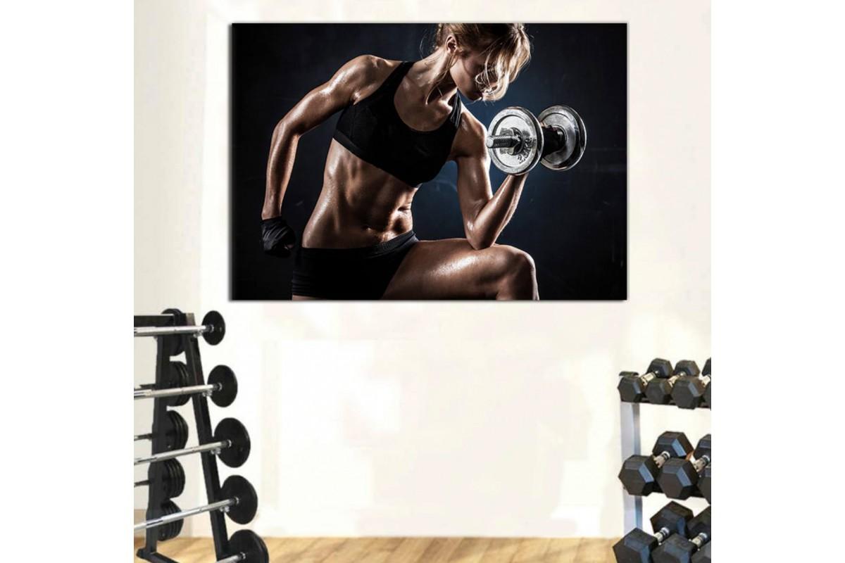srss32 - Dambıl ile Biceps Çalışan Fit Vücutlu Kadın Kanvas Tablo
