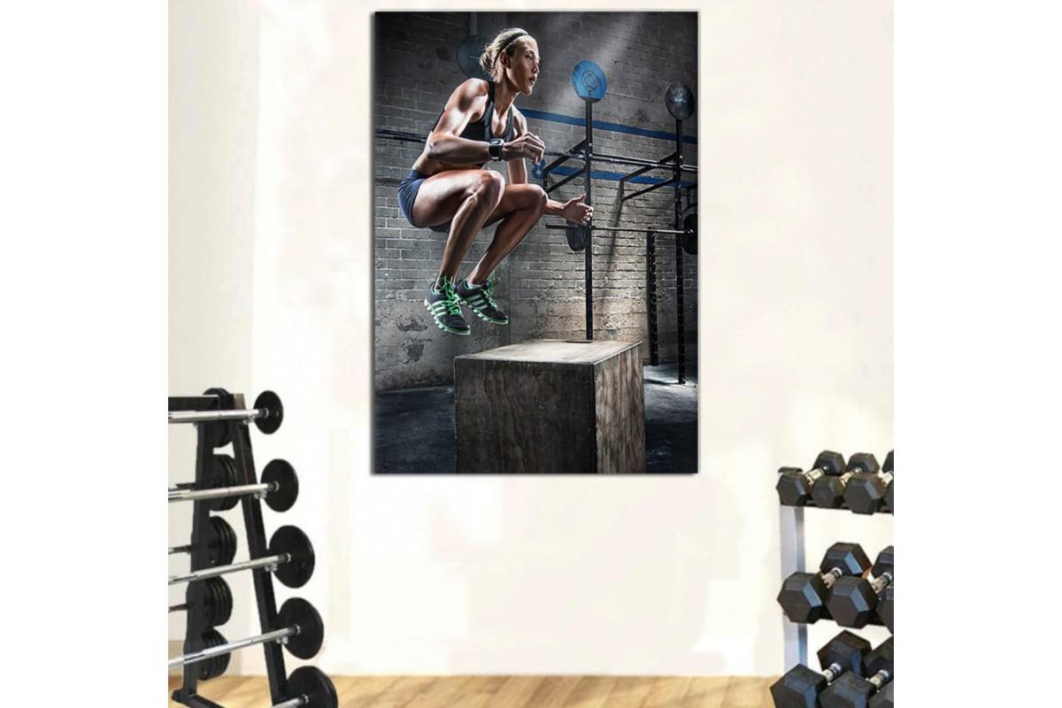 srss33 - Crossfit Box Jum Yapan Atletik Kadın Kanvas Tablo