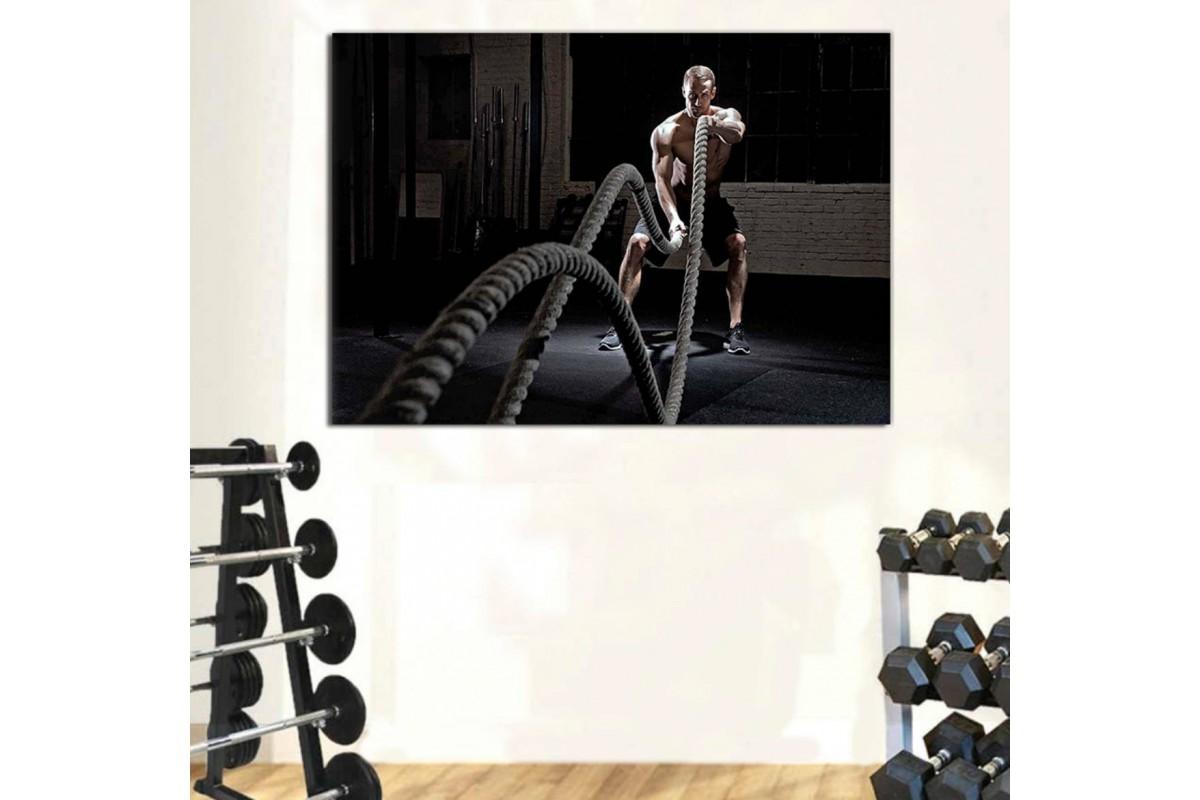 srss34 - Crossfit Battle Rope, Halat İdmanı, Halat Egzersizi Kanvas Tablo