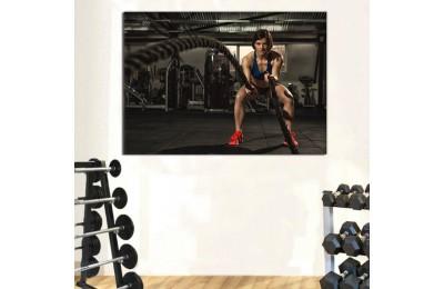 srss4 - Crossfit Battle Rope, Crossfit Halat, Vücut Geliştirme, Fitness Salonu Kanvas Tablo