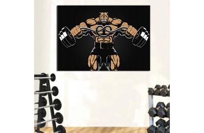 srss6 - Spor Salonu, Vücut Geliştirme, Body Building Salonu Halter Kaldıran Pitbull Kanvas Tablo