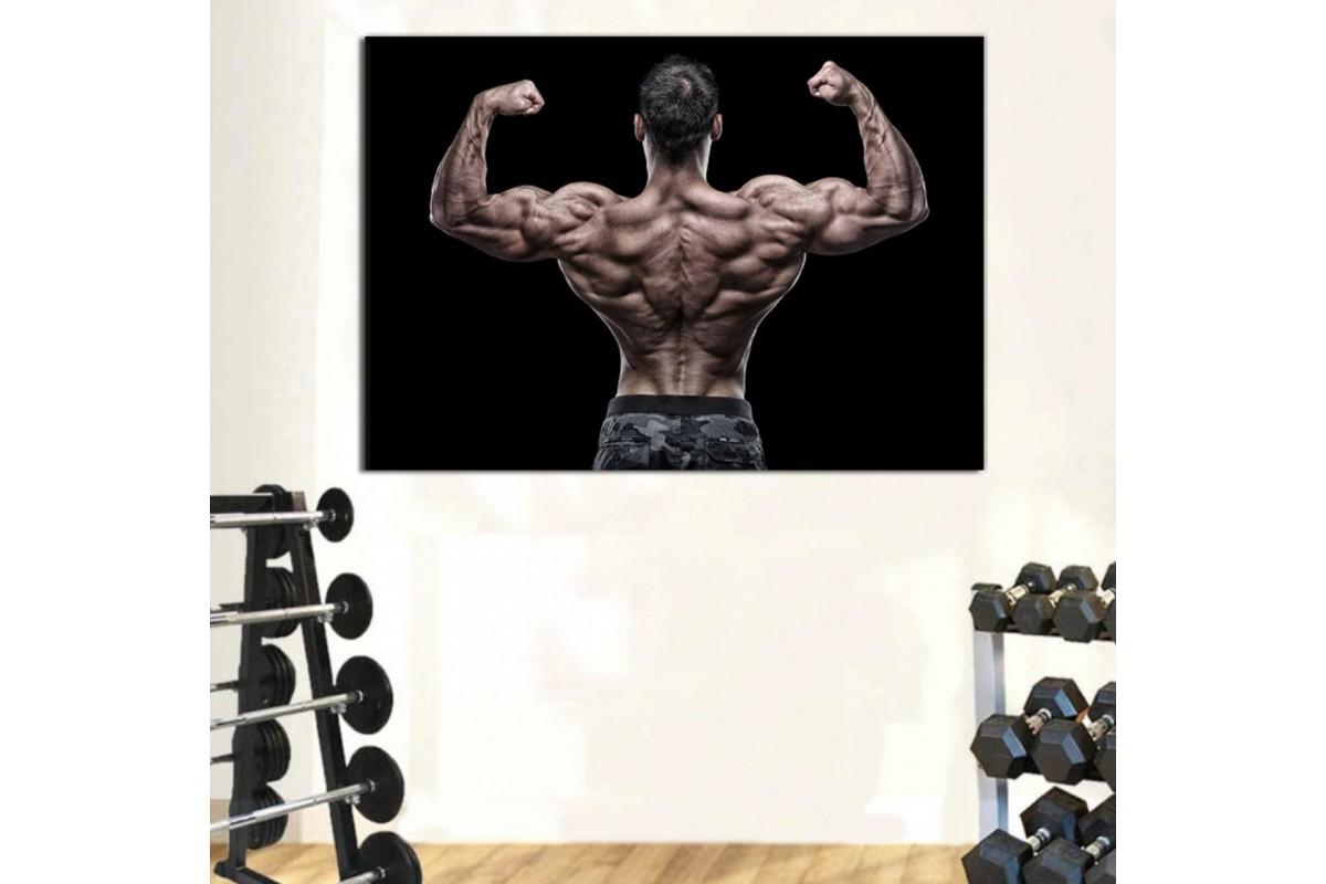 srss9 - Vücut Geliştirme, Bodybuilding, Fitness, Spor Salonu Sırt Kaslarını Gösteren Sporcu Kanvas Tablo
