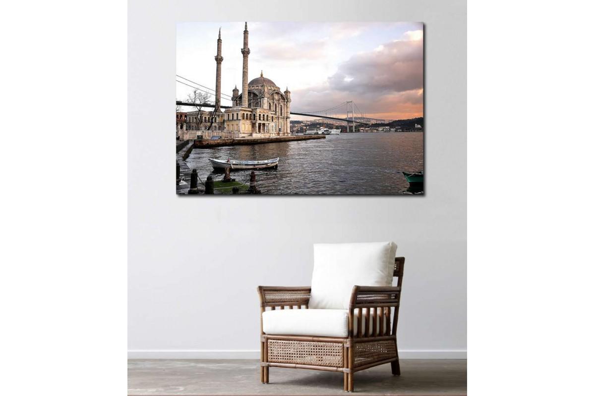 srst02 - Ortaköy Camii ve Boğaz Köprüsü Manzarası Kanvas Tablo