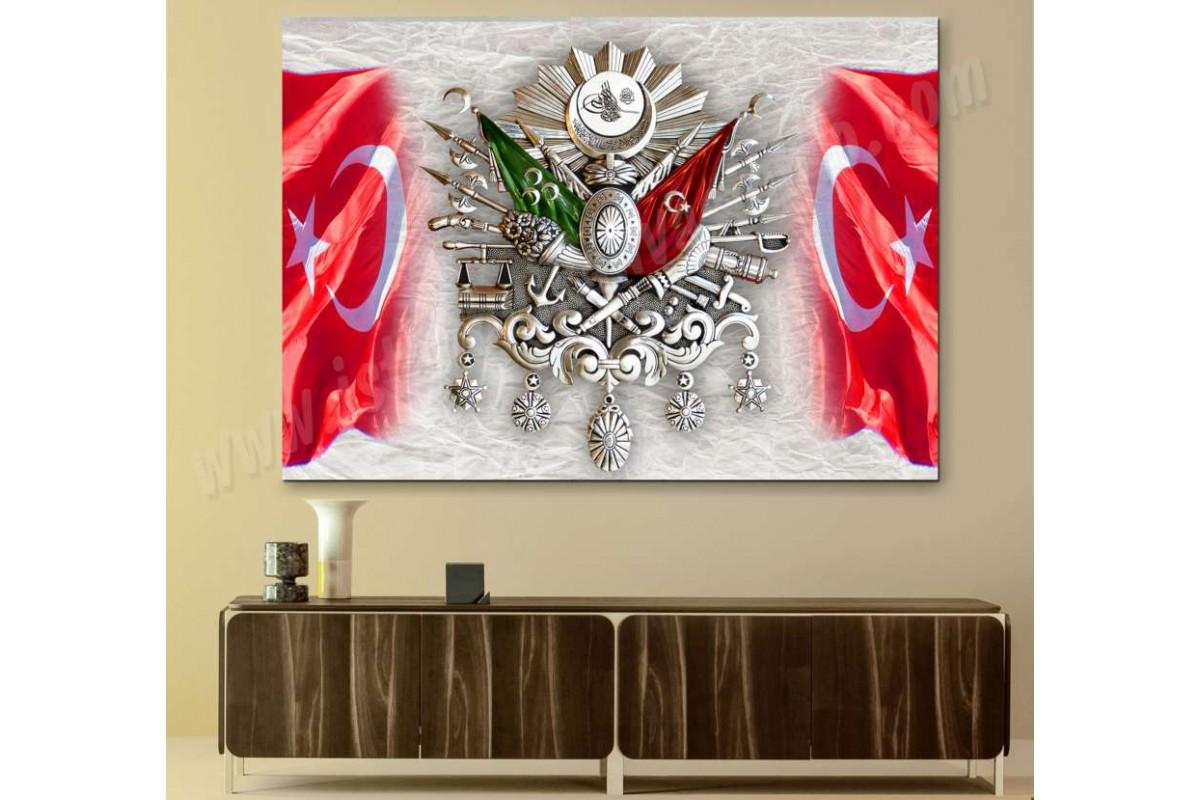 srtr3 - GÜMÜŞ OSMANLI ARMA, TUĞRA, ve TÜRK BAYRAKLARI özel tasarım kanvas tablo