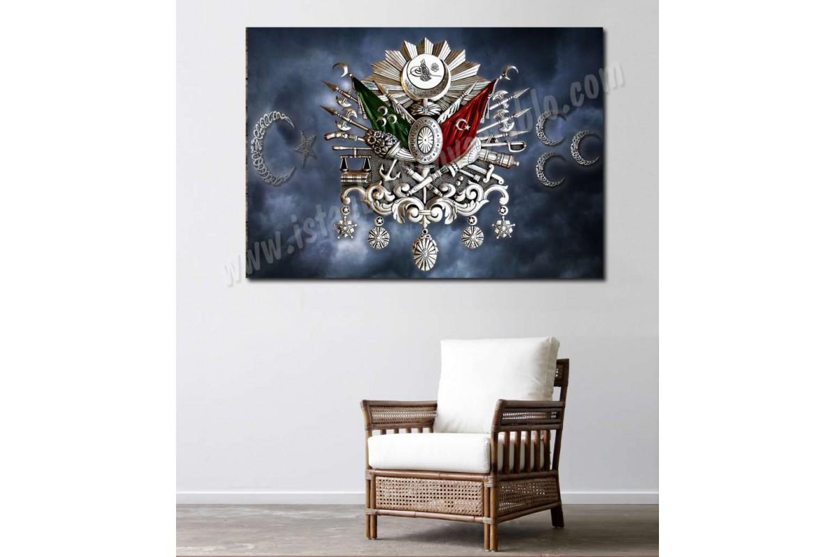 srtr4 - Gümüş Osmanlı Arması, Ay Yıldız ve 3 Hilal Özel Tasarım Kanvas Tablo