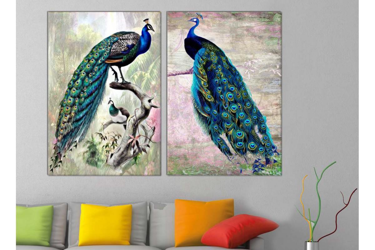 srts23_2p - Daldaki Tavus Kuşları Dekoratif Kanvas Tablo Seti - 2 adet
