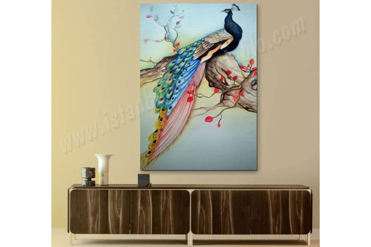 srts4 - Yağlı Boya Görünümlü Dekoratif Tavus Kuşu Kanvas Tablo