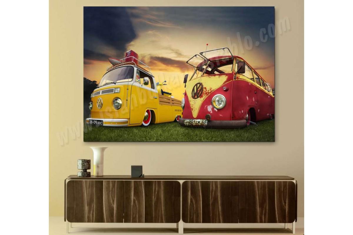srvc12 - Vosvos Minübüsler - Volkswagen - Klasik Araba - Vintage Otomobil Kanvas Tablo