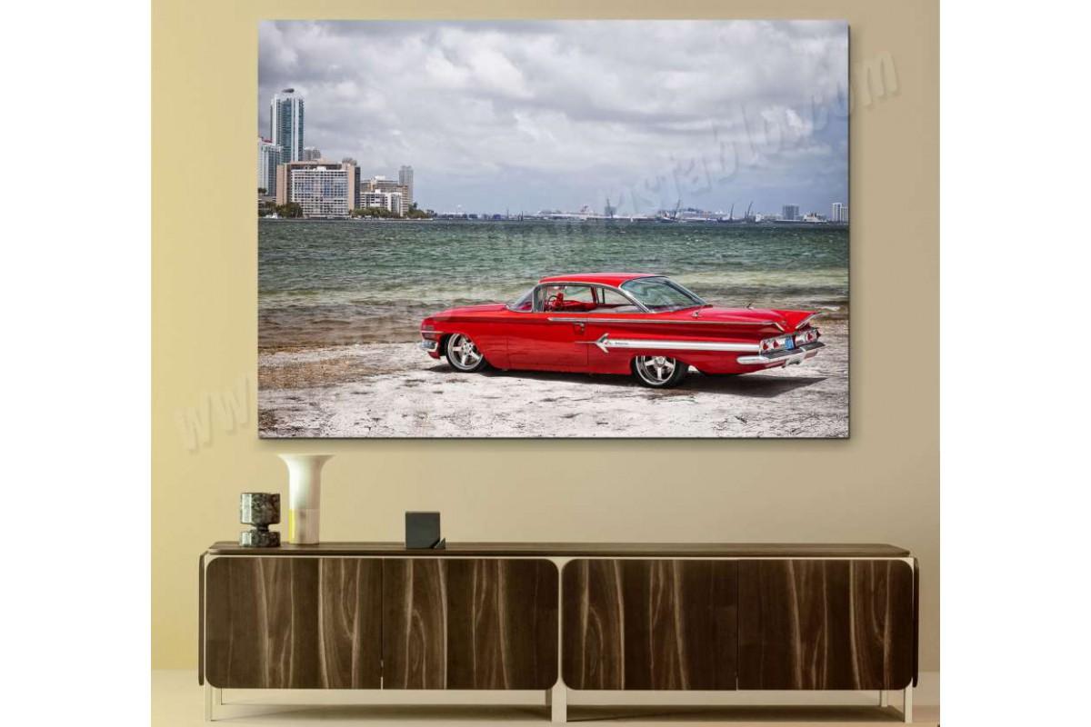 srvc13 - Deniz Manzarası ve İmpala Klasik Araba - Vintage Otomobil Kanvas Tablo