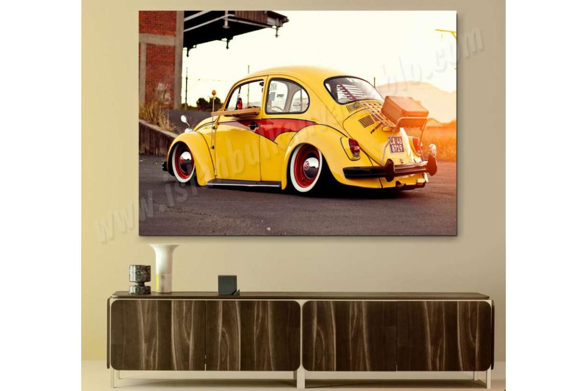 srvc2 - Vosvos - Volkswagen Beetle - Klasik Araba - Vintage Otomobil Kanvas Tablo