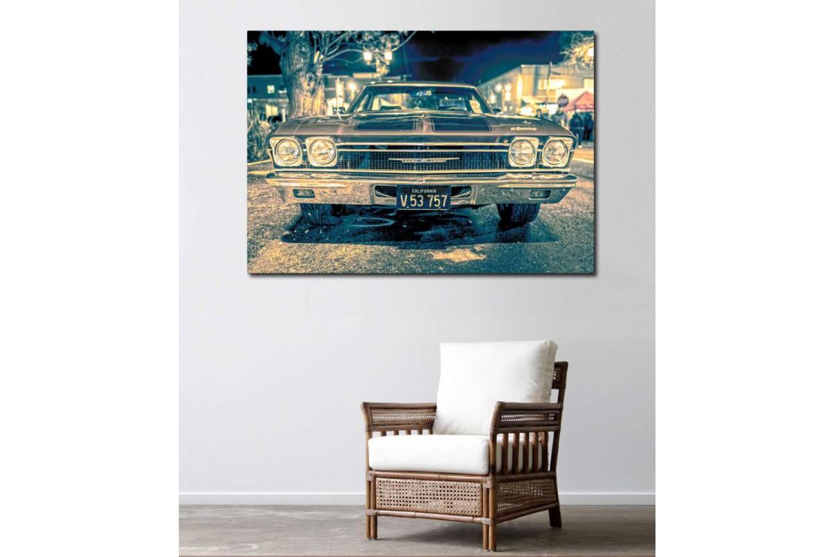 srvc20 - Chevrolet Klasik Araba - Vintage Otomobil Kanvas Tablo