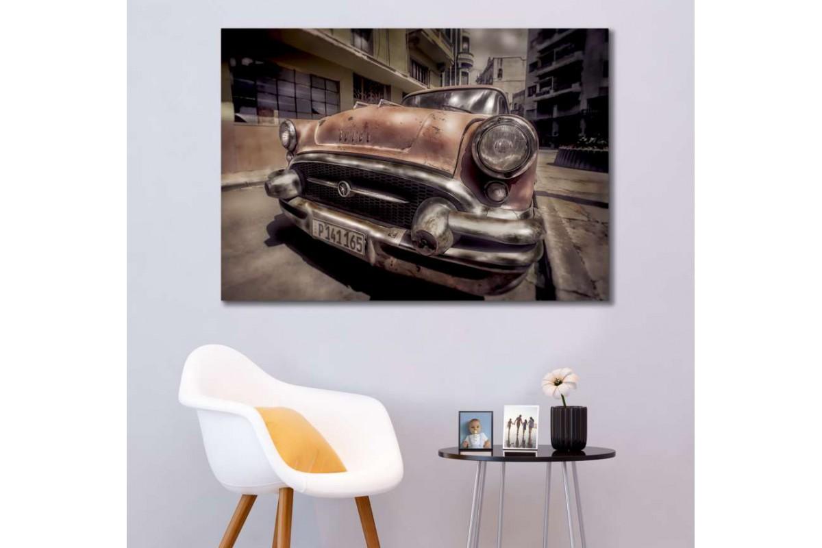 srvc22 - Küba - Havana Buick Klasik Araba - Vintage Otomobil Kanvas Tablo