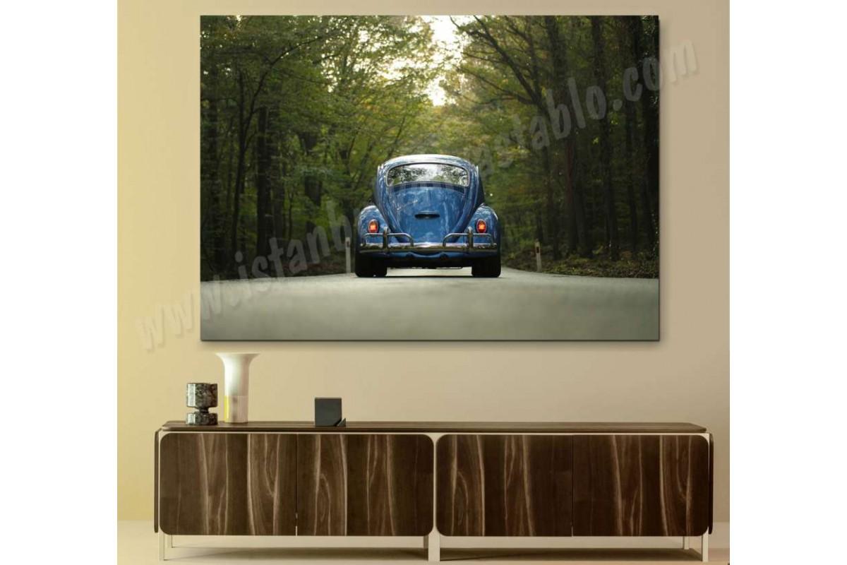 srvc25 - Orman Yolu ve Vosvos - Volkswagen Klasik Araba - Vintage Otomobil Kanvas Tablo