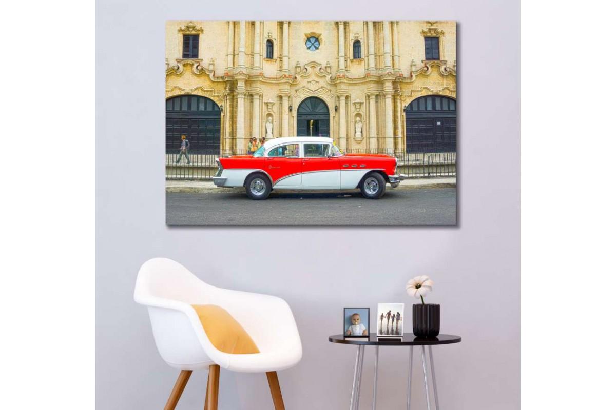 srvc33 - Küba Sokakları ve Klasik Araba - Vintage Otomobil Kanvas Tablo