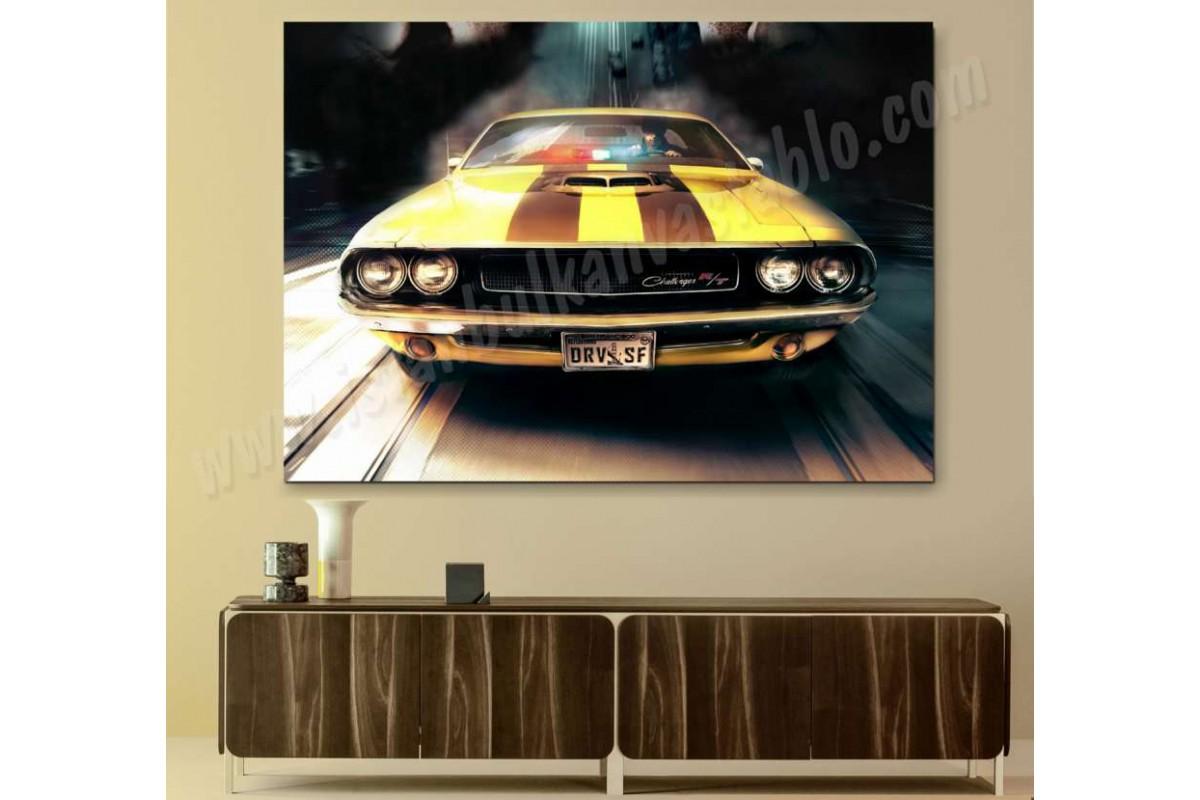 srvc34 - Dodge Challenger RT (Driver Oyunu) Klasik Araba - Vintage Otomobil Kanvas Tablo