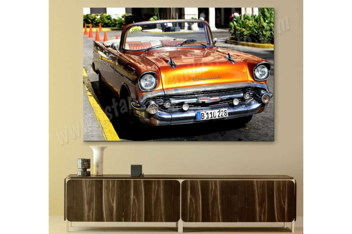 srvc36 - Turuncu Chevrolet Küba Klasik Araba - Vintage Otomobil Dekoratif Kanvas Tablo