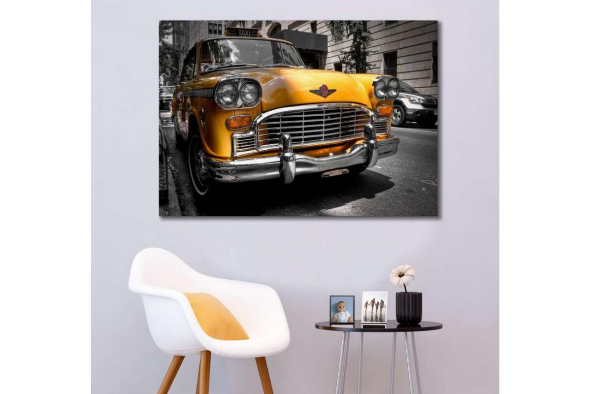 srvc7 - New York Taksi Klasik Araba - Eski - Vintage Otomobil Kanvas Tablo