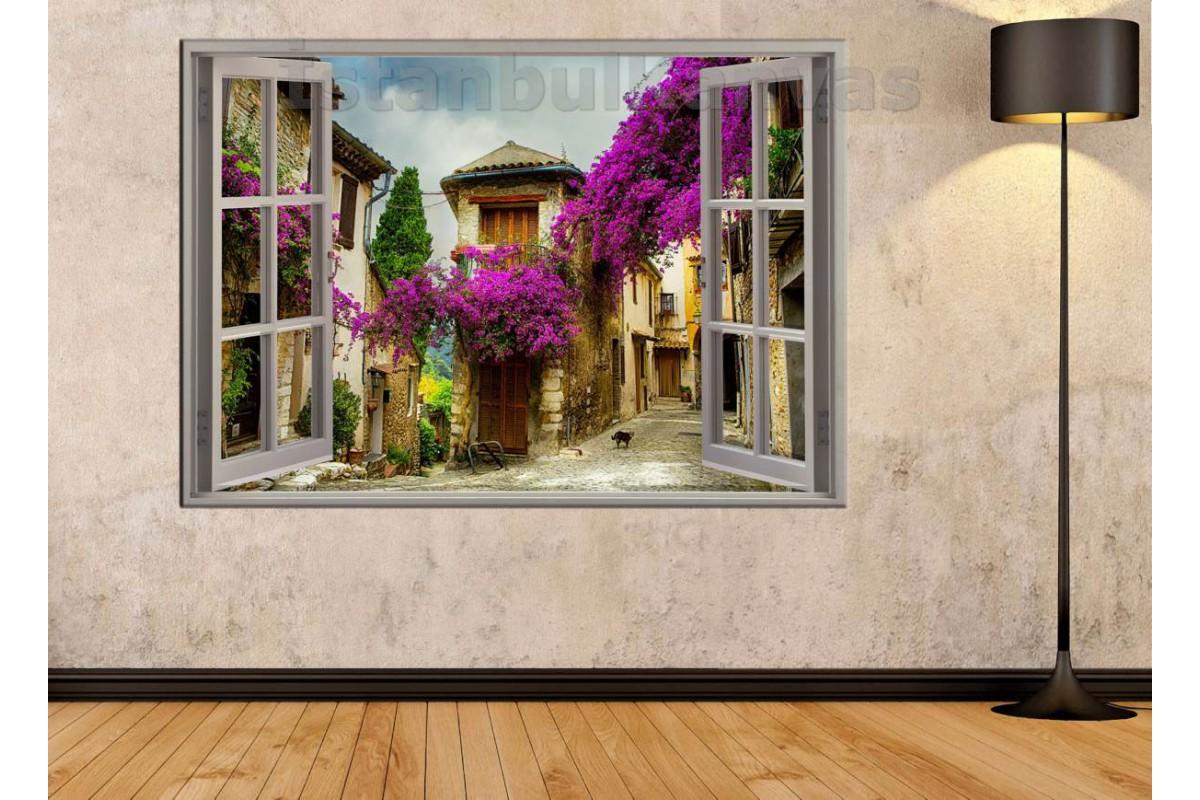 Srw04 - Açılır Pencere Begonvil Çiçekleri Manzarası Kanvas Tablo