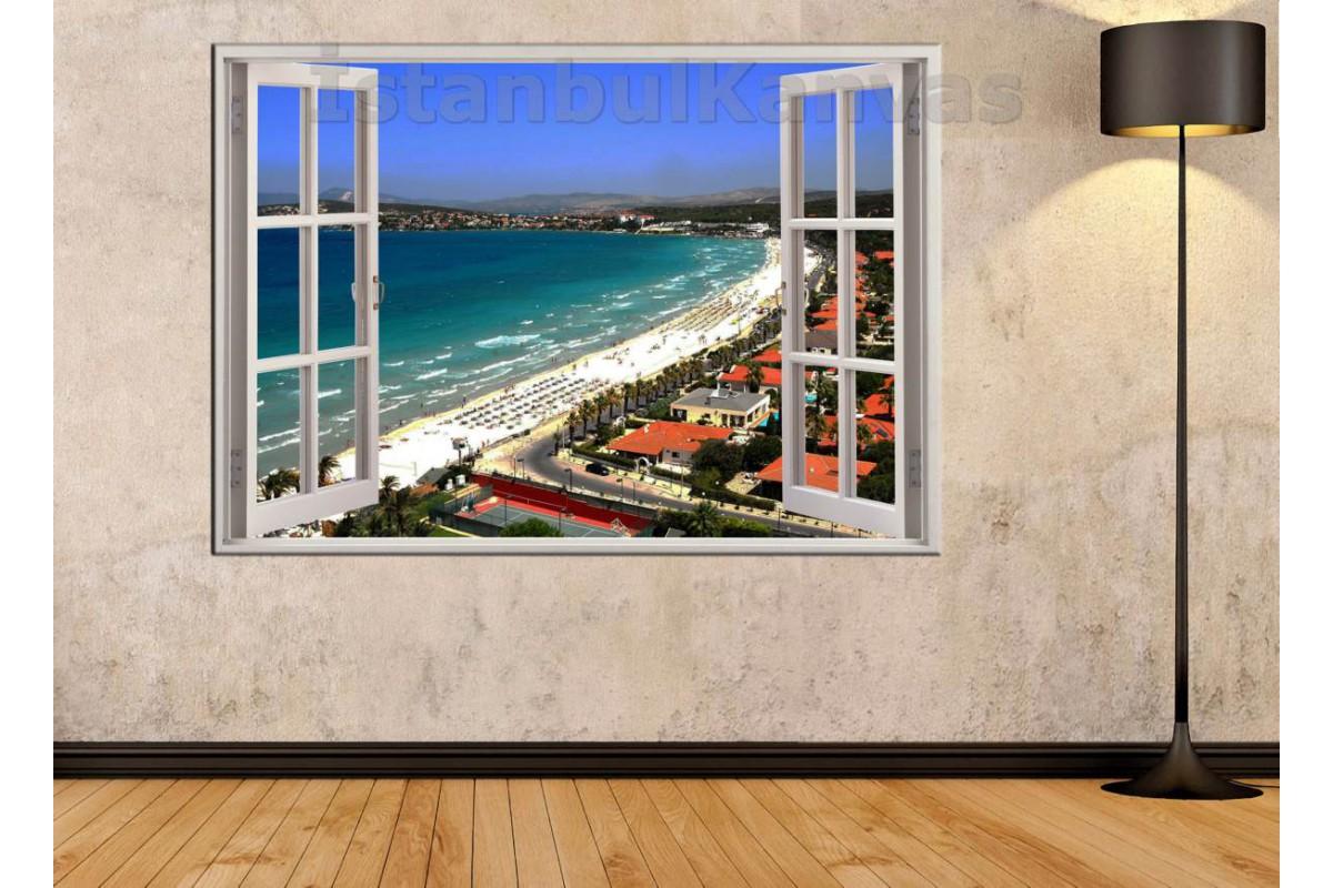 Srw05 - Açılır Pencere Çeşme Ilıca Plajı Manzarası Kanvas Tablo