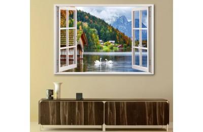 srw08 - Açılan Pencereden Kuğular, Göl ve Dağ Evleri Manzarası Kanvas Tablo
