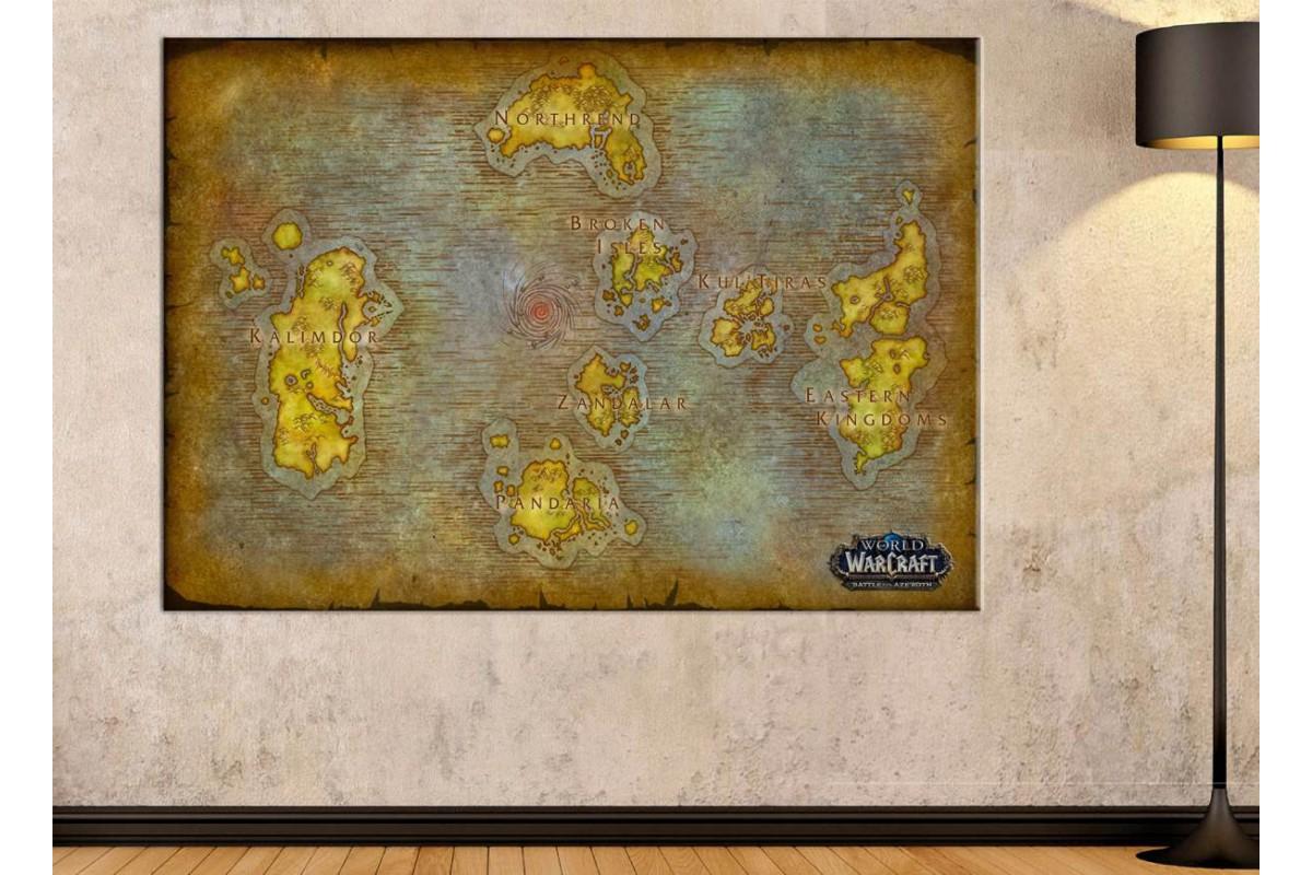 srwh1 - World of Warcraft - Wow - Battle For Azeroth Haritası Kanvas Tablo