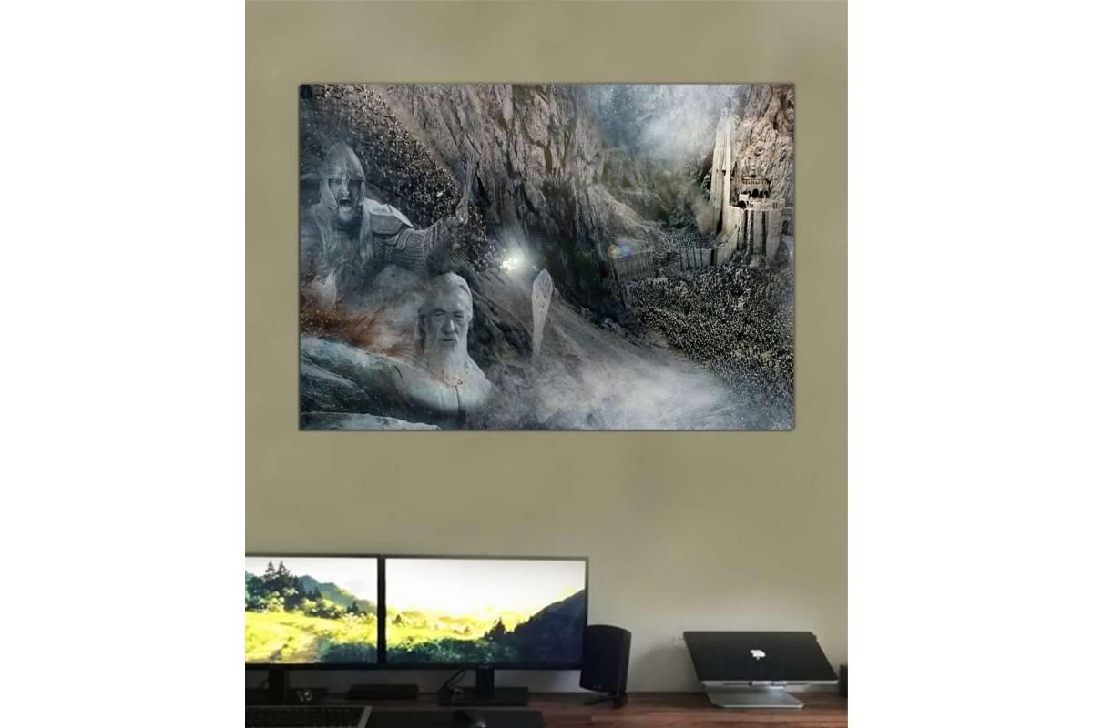 srye26b - Yüzüklerin Efendisi, Miğferdibi Savaşı, Rohirrim To The King, Gandalf kanvas tablo
