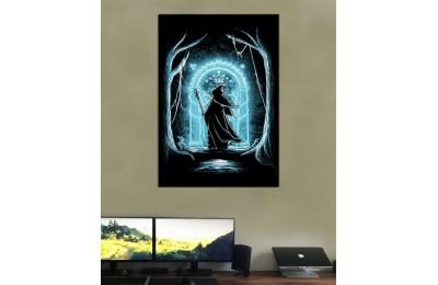 srye27 - Yüzüklerin Efendisi, LOTR, Lord of the Rings Gandalf ve Moria Kapısı Kanvas Tablo