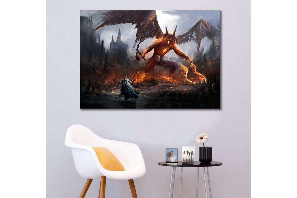 srye33 - Yüzüklerin Efendisi, Silmarillion, Lord Etchelion vs Balrog Efendisi Gothmog Kanvas Tablo