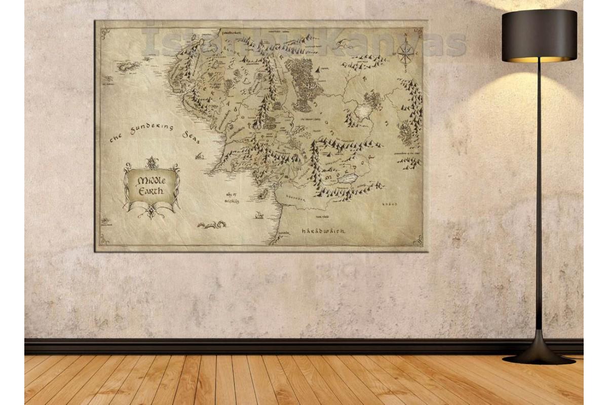 Srye96 - Orta Dünya Haritası Yüzüklerin Efendisi - Lotr - Lord Of The Rings - Kanvas Tablo
